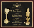 """Explorers:Space Exploration, Buzz Aldrin's """"Art Gilmore Career Achievement Award"""" Plaque fromthe Pacific Pioneer Broadcasters, Originally from His Per..."""