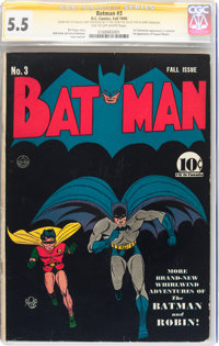 Batman #3 Signature Series From the Collection of Jerry Robinson (DC, 1940) CGC FN- 5.5 Tan to off-white pages