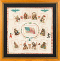 Western Expansion:Indian Artifacts, Native Americans: Framed Tobacco Premium Pillow Top....