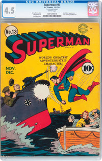 Superman #13 (DC, 1941) CGC VG+ 4.5 White pages