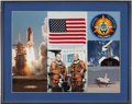 Explorers:Space Exploration, Space Shuttle Columbia (STS-3) Flown American Flag and Crew Patch with Crew-Signed Photo in Framed Display Directl...