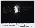 Autographs:Celebrities, Apollo 13 Damaged Service Module Color Photo Signed by Fred Haise,James Lovell, and Gene Kranz. ...