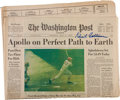 Explorers:Space Exploration, Michael Collins Signed July 24, 1969, Issue of The WashingtonPost, Originally from His Personal Collection, with ...