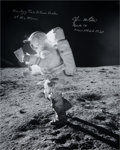 Autographs:Celebrities, Edgar Mitchell Signed Large Apollo 14 Lunar Surface Photo, withPhotographic Provenance. ...