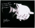 Autographs:Celebrities, James Lovell Signed Large Apollo 13 Damaged Service Module Photo,with Photographic Provenance....