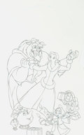 Animation Art:Production Drawing, Beauty and the Beast: The Enchanted Christmas Video CoverPreliminary Drawing (Walt Disney, 1997)....