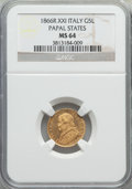 Italy:Papal States, Italy: Papal States. Pius IX gold 5 Lire 1866-R Anno XXI MS64NGC,...