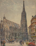 Fine Art - Painting, European, ERNST GRANER (German, 1865-1965). St. Stephen's Church,Vienna and St. Charles' Church, Vienna (two works),1924. Wa... (Total: 2 Items)