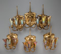 Art Glass:Tiffany , SET OF SIX TIFFANY STUDIOS GILT BRONZE AND FAVRILE GLASSTHREE-LIGHT LILY SCONCES, circa 1925. Marks to shades: ...(Total: 21 Items)
