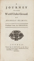 Books:Literature Pre-1900, Nicholas Klim [pseudonym of Ludwig, Baron of Holberg]. A Journey to the World Under-Ground. London: for T. Astley & ...