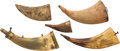 Arms Accessories:Horns, Lot of Five Vintage Powder Horns....