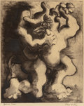 Fine Art - Work on Paper:Print, JACQUES LIPCHITZ (French, 1891-1973). Theseus and theMinotaur, circa 1943-44. Engraving, etching, and aquatint onwove ...