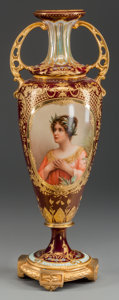 Decorative Arts, Continental, A ROYAL VIENNA-STYLE PAINTED PORCELAIN AND GILT BRONZE URN, 20thcentury. 20-1/4 inches high (51.4 cm). ...