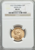 Colombia, Colombia: Republic gold 5 Pesos 1925 MS65 NGC,...
