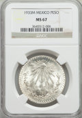 Mexico, Mexico: Republic Peso 1933-M MS67 NGC,...
