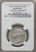 British Honduras, British Honduras: Victoria 50 Cents 1894 AU Details (Surface Hairlines) NGC,...