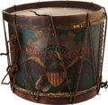 Military & Patriotic:Civil War, Regulation Civil War Painted Eagle Drum Carried By Frederick Dyer, 7th Connecticut Infantry... (Total: 2 )