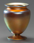 Art Glass:Steuben, A STEUBEN GLASS GOLD AURENE FOOTED VASE, Corning, New York,circa 1930. Marks: STEUBEN AURENE, 938. 5 inches...