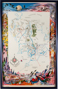 "Memorabilia:Poster, Lord of the Rings ""A Map of Middle Earth"" Poster(Ballantine, c. 1965)...."