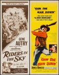 "Movie Posters:Western, Riders in the Sky & Other Lot (Columbia, R-1956). Inserts (2) (14"" X 36""). Western.. ... (Total: 2 Items)"