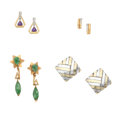Estate Jewelry:Earrings, Multi-Stone, Diamond, Gold, Sterling Silver Earrings. ... (Total: 4Items)