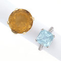 Estate Jewelry:Rings, Citrine, Blue Topaz, Gold, White Gold Rings. ... (Total: 2 Items)