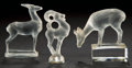 Art Glass:Lalique, TWO LALIQUE FROSTED GLASS DEER PAPERWEIGHTS AND A SEAL, circa 1929and later . Stamped and wheel carved to one: R. LALIQUE...(Total: 3 Items)