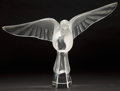 Art Glass:Lalique, LALIQUE CLEAR AND FROSTED GLASS DOVE IN FLIGHT FIGURINE,post 1945. Engraved: Lalique, France . Label: CRYST...