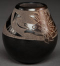 American Indian Art:Pottery, A SANTA CLARA ETCHED BLACKWARE JAR . Corn Moquino...