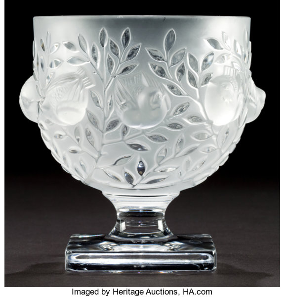 A Lalique Clear And Frosted Glass Elizabeth Pattern Vase Post Lot