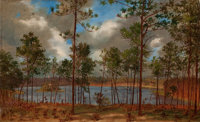 JOHN BRADLEY HUDSON (American, 1832-1903) View from the Woods, 1882 Oil on canvas 13 x 21 inches