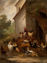 Attributed to AUGUST LAUX (American, 1853-1921) Barnyard Scene Oil on canvas laid on Masonite 24