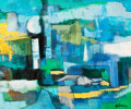 Fine Art - Painting, American:Contemporary   (1950 to present)  , ROBERT HELMAN (American, 1910-1990). Blue and Green Abstraction. Oil on canvas. 20 x 24 inches (50.8 x 61.0 cm). Signed ...
