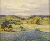 ROBERT WOOD (1889-1979) Untitled Texas Bluebonnets Oil on canvas 25in. x 30in. Signed lower right  An important and ea...