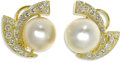 Estate Jewelry:Earrings, South Sea Cultured Pearl, Diamond, Gold Earrings. Each earringfeatures a white South Sea cultured pearl measuring 13.00 -...(Total: 2 Items)