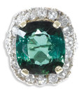 Estate Jewelry:Rings, Tourmaline, Diamond, Gold Ring. The ring centers a cushion-shapedgreen tourmaline measuring 17.00 x 15.30 x 9.50 mm and w...