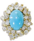 Estate Jewelry:Rings, Turquoise, Diamond, Gold Ring. The ring features an oval-shaped turquoise cabochon measuring 15.00 x 11.00 x 9.50 mm, enha...