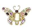 Estate Jewelry:Brooches - Pins, Multi-Stone, Gold Brooch. The brooch, designed as a butterfly, ishighlighted by modified rectangular-shaped citrine measu...