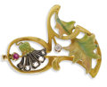 Estate Jewelry:Brooches - Pins, Art Nouveau Diamond, Ruby, Enamel, Silver-Topped Gold Brooch. The brooch features European and rose-cut diamonds, set in s...