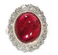 Estate Jewelry:Rings, Spinel, Diamond, Gold Ring. The ring centers one oval-shaped redspinel measuring 14.00 x 11.40 x 5.00 mm and weighing app...