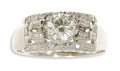 Estate Jewelry:Rings, Diamond, White Gold Ring. The ring centers a round brilliant-cut diamond measuring 6.45 x 6.40 x 4.00 mm and weighing appr...