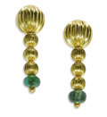 Estate Jewelry:Earrings, Green Tourmaline, Gold Earrings, Lalaounis. Each earring features18k gold corrugated beads, supporting a tumbled green to... (Total:1 Sets)