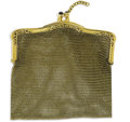 Estate Jewelry:Other , Sapphire, Gold Mesh Coin Purse. Designed in 14k yellow gold, theframe features sapphire cabochon terminals. Gross weight ...