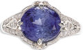 Estate Jewelry:Rings, Sapphire, Diamond, Platinum Ring. The ring centers an oval-shaped sapphire measuring 9.20 x 8.00 x 6.25 mm and weighing ap...