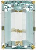 Estate Jewelry:Rings, Aquamarine, Gold Ring. The ring features one emerald-cut aquamarine measuring 33.00 x 22.00 x 13.90 mm and weighing approx...