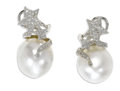 Estate Jewelry:Earrings, South Sea Cultured Pearl, Diamond, White Gold Earrings. Each 18kwhite gold earring features an off-round South Sea cultur...