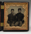 Military & Patriotic:Civil War, Great 1/6th Plate Tintype Showing Union Brothers From Ohio. A penciled inscription behind the image dates it to 1864 and ide...