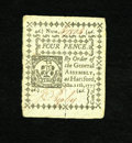 Colonial Notes:Connecticut, Connecticut October 11, 1777 Slash Cancel 4d Gem New. This is avery well margined example of this small change note that ha...