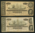 Confederate Notes:1864 Issues, T67 $20 1864 PF-12; -13 Cr. 512; 513.. ... (Total: 2 notes)