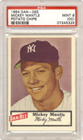 Baseball Cards:Singles (1950-1959), 1954 Dan-Dee Potato Chips Mickey Mantle PSA Mint 9 (oc). This card is really hard to beat and the only thing keeping it fro...